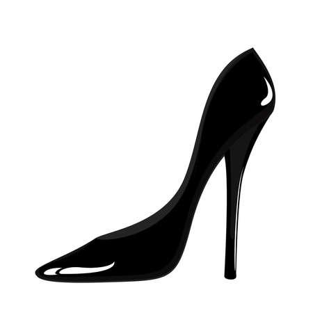 stilettos: Fashion black woman shoes on white background