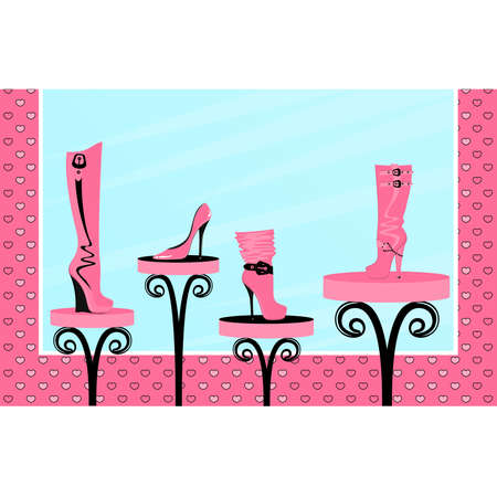 pump shoe: Vector fashion footwear sales in the window of shop