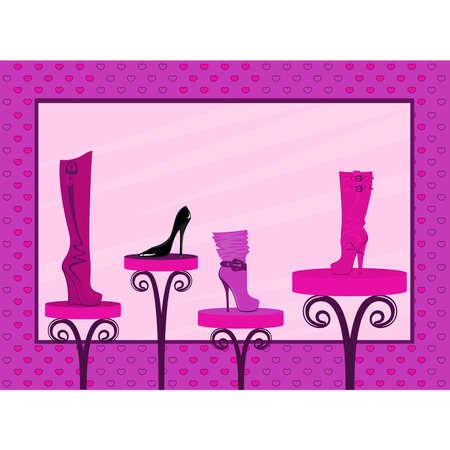 pump shoe: fashion footwear sales in the window of shop Illustration