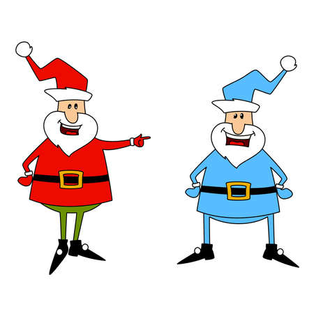 clauses: Happy Santa Clauses over white. Vector