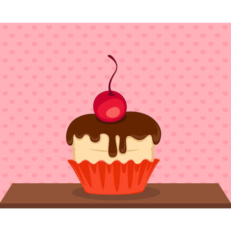 vector sweet cupcake with a chocolate on white background Vector