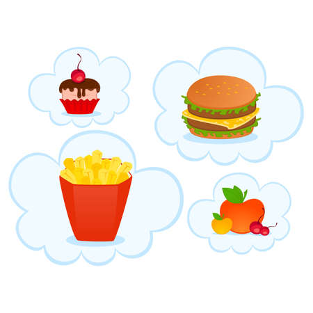 vector cheeseburger with the pack of french fries, sweet cupcake on white background Stock Vector - 8472945