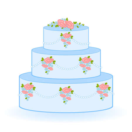 Illustration of blue sweet wedding cake on white background Vector