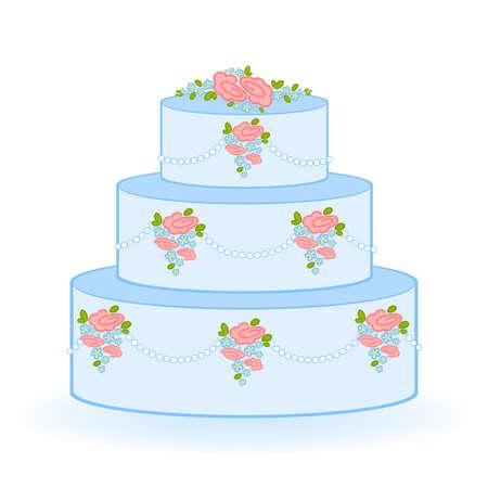Illustration of blue sweet wedding cake on white background Vector