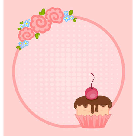 Vector valentine`s day frame with sweet cupcake for design Vector