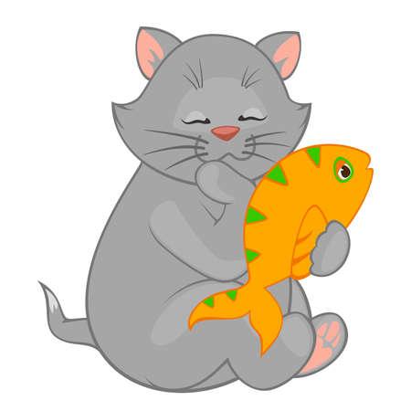 Vector cartoon little kitten with fish Vector