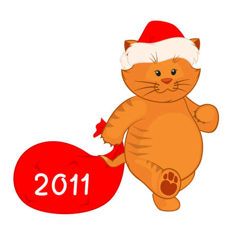 Vector cartoon little kitten in the suit of Santa Claus with gift Vector
