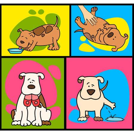 large group of animals: Ilustraci�n de perro de dibujos animados Vectores