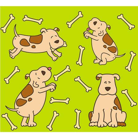 piebald: Set of cartoon dogs Illustration