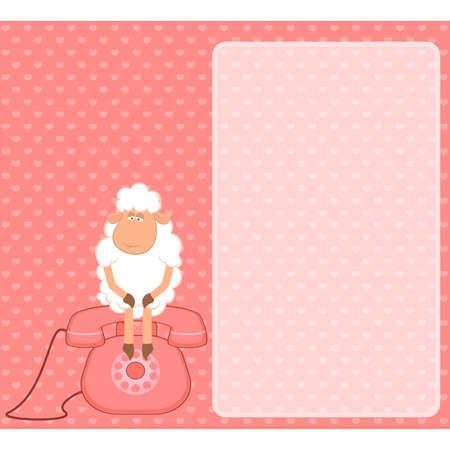 cartoon sheep sits on a telephone, waits a bell Vector