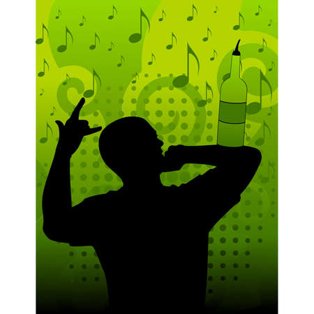 silhouette of barman showing tricks with a bottle Stock Vector - 8556890