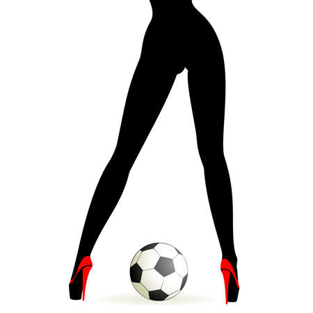 soccer ball between beautiful womanish feet Vector