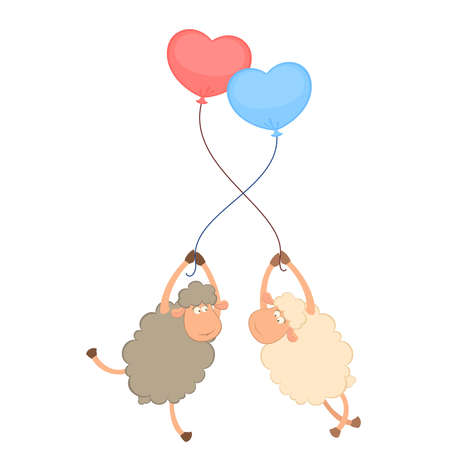 cartoon sheep flies on a balloon Vector