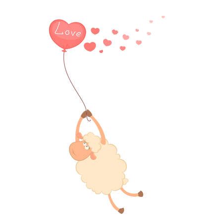 mouton cartoon: Cartoon moutons mouches sur un ballon Illustration