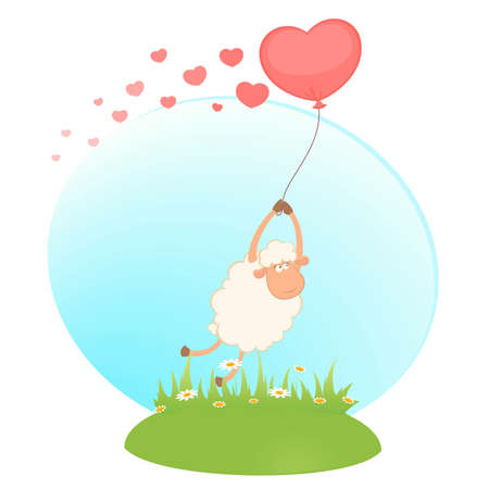 cartoon sheep flies on a balloon Stock Vector - 8556900
