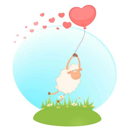 cartoon sheep flies on a balloon Vector