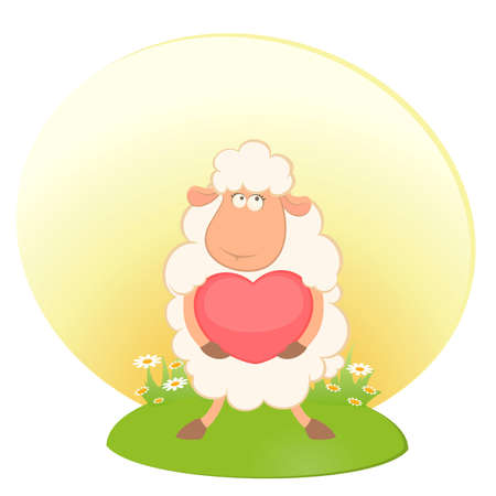 cartoon funny sheep holds a heart