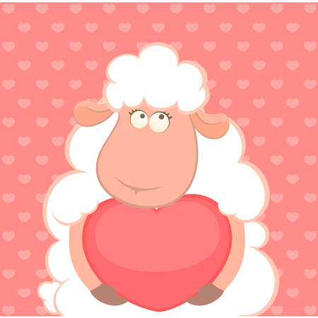 cartoon sheep: cartoon funny sheep holds a heart