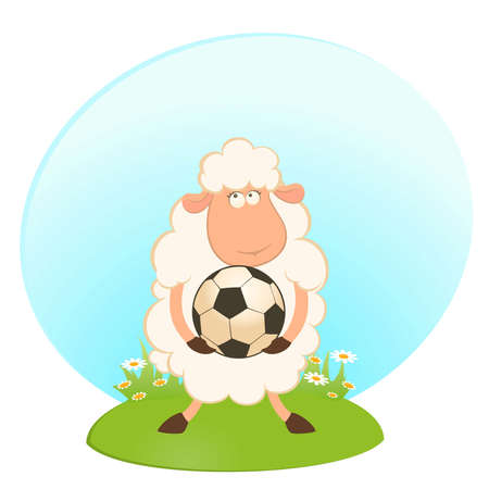 cartoon funny sheep play in football Vector
