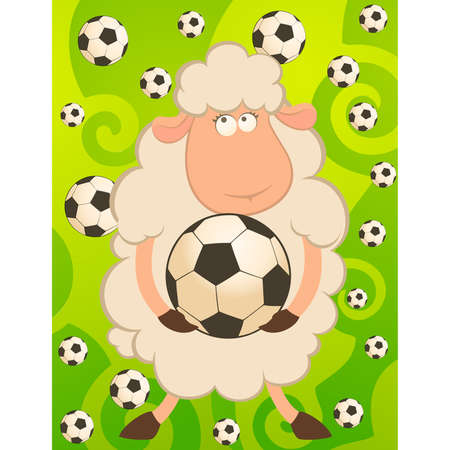 cartoon funny sheep play in football Vector