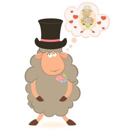 Cartoon sheep fiance on white background Vector