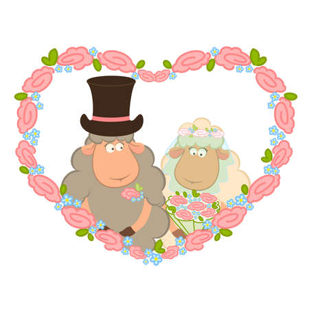 Cartoon sheep bridegroom and bride on background with floral heart. Vector