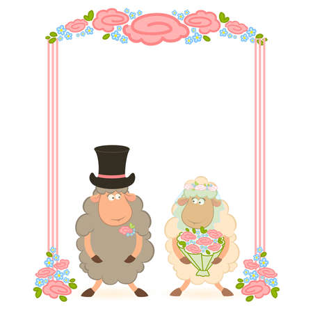 Cartoon sheep bridegroom and bride on white background. Vector