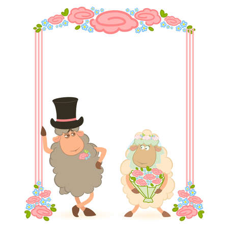 Cartoon sheep bridegroom and bride on white background. Stock Vector - 8556898