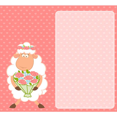 Cartoon sheep bride on pink background Vector