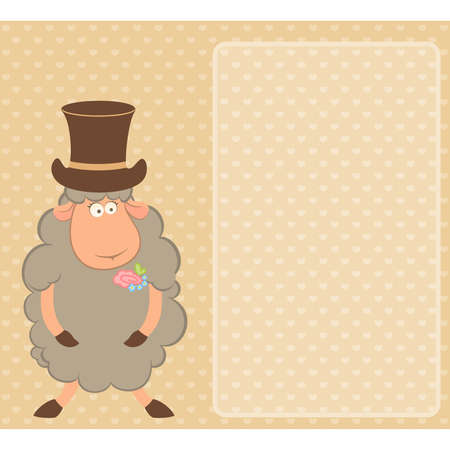 Cartoon sheep fiance on  background Vector