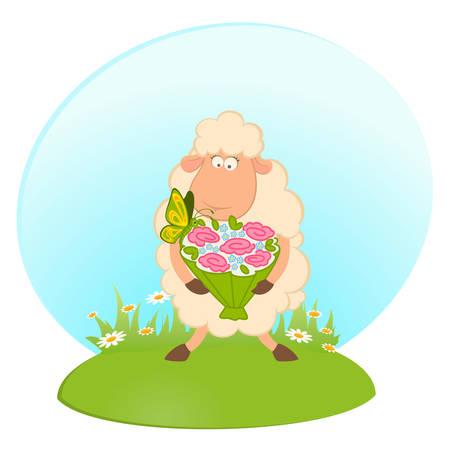 Cartoon sheep bride on background Stock Vector - 8556876