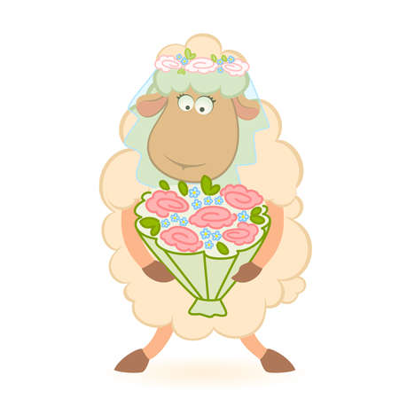 Cartoon sheep bride on background Vector