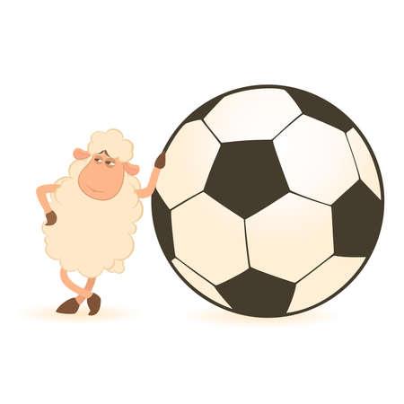 soccer: cartoon funny sheep play in football