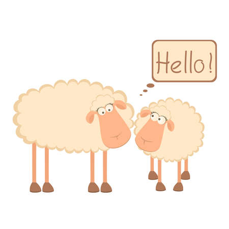 illustration of two cartoon sheep Vector
