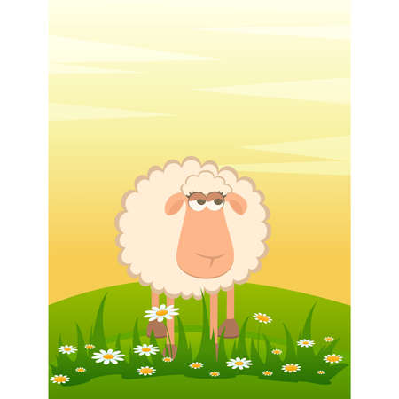 landscape background with cartoon smiling sheep Stock Vector - 8556855