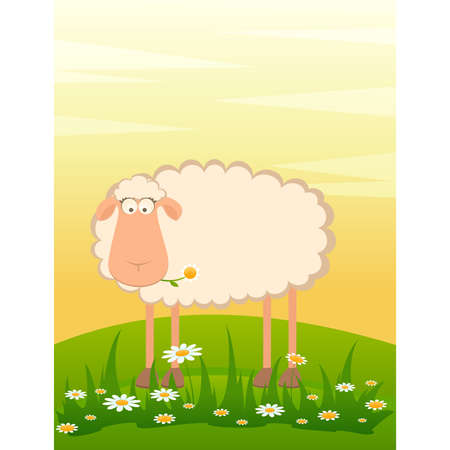 sweet grass: landscape background with cartoon smiling sheep