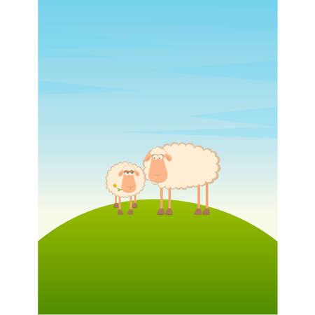 illustration of two cartoon sheep Stock Vector - 8556854