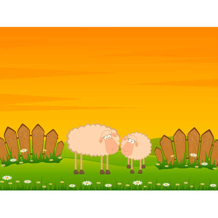 illustration of two cartoon sheep Stock Vector - 8556894