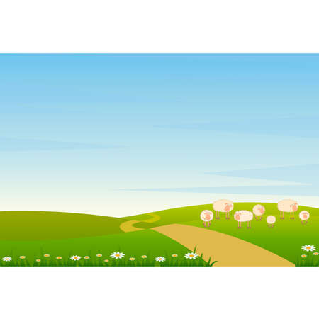 Landscape background with cartoon sheep Vector