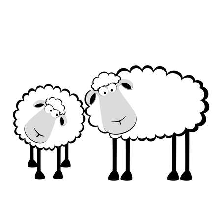 sheep farm: illustration of two cartoon sheep
