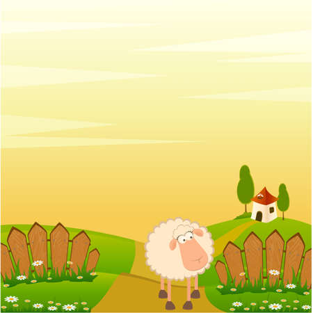 sheep clipart: landscape background with cartoon smiling sheep