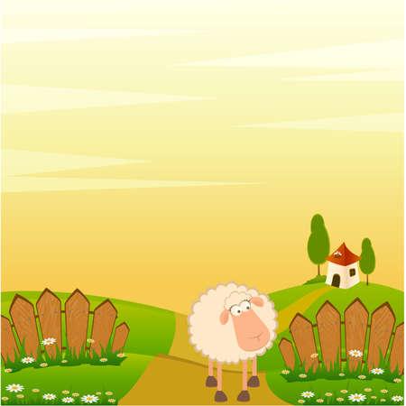image lamb: landscape background with cartoon smiling sheep
