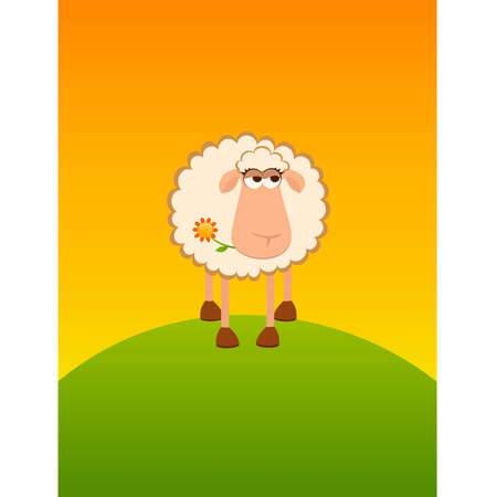 landscape background with cartoon smiling sheep Stock Vector - 8556853