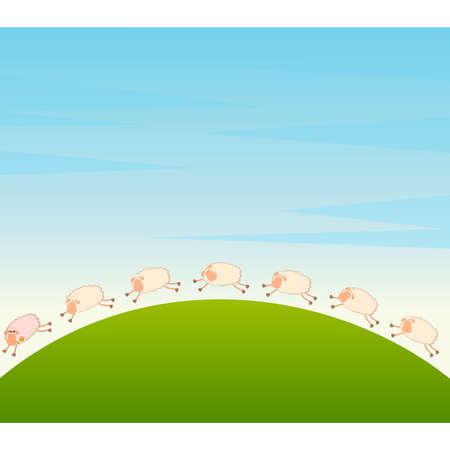 Vector landscape background with cartoon in love sheep pursues after other Vector