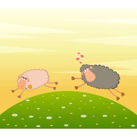 image lamb: Landscape background with cartoon in love sheep pursues after other