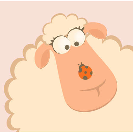 cartoon smiling sheep with ladybird Vector