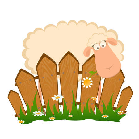 fun grass: landscape background with cartoon smiling sheep
