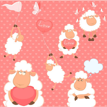 set of cartoon funny sheep with heart Vector