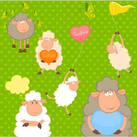 set of cartoon funny sheep with heart Vector