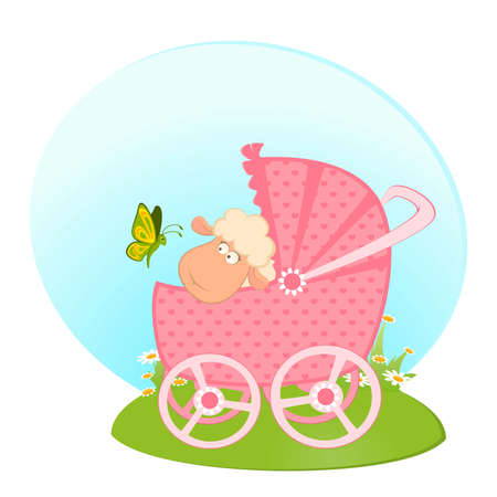 Cartoon smiling sheep with scribble baby carriage Vector